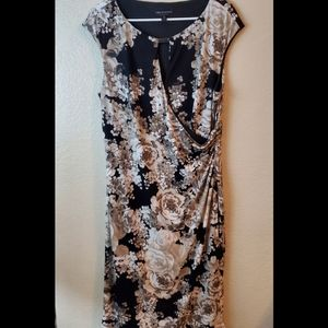 Connected Floral Sleeveless Wrap Gold Dress